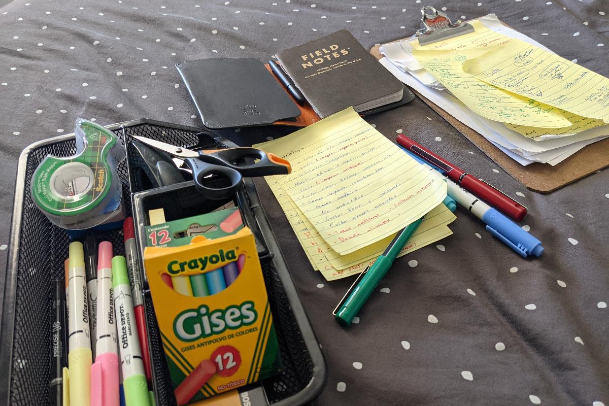 Crayolas y notas